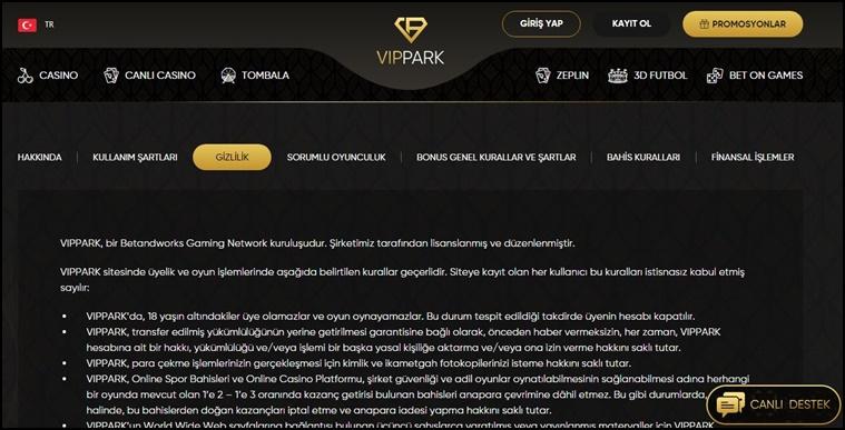 vippark lisans bilgileri